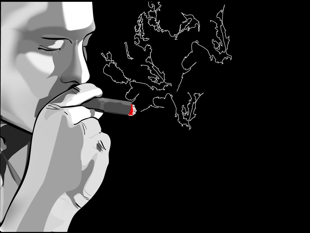 A pele de cara fumante deixada deteriorou-se