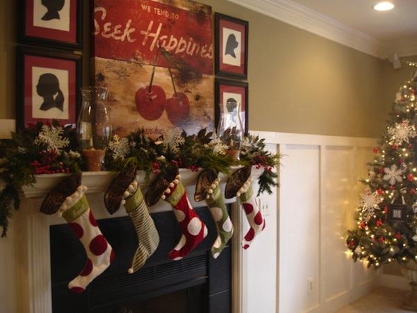 Fireplace socks Mantel Home Decoration Idea in Christmas Festival lights