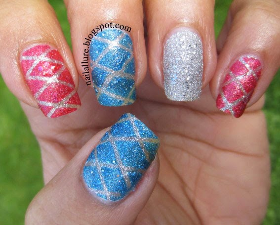 Textured Polish with Quilted Striping Tape Pattern