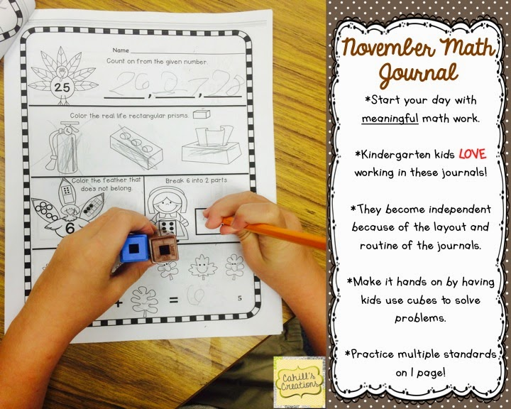 http://www.teacherspayteachers.com/Product/Kindergarten-November-Math-Journal-Common-Core-731344