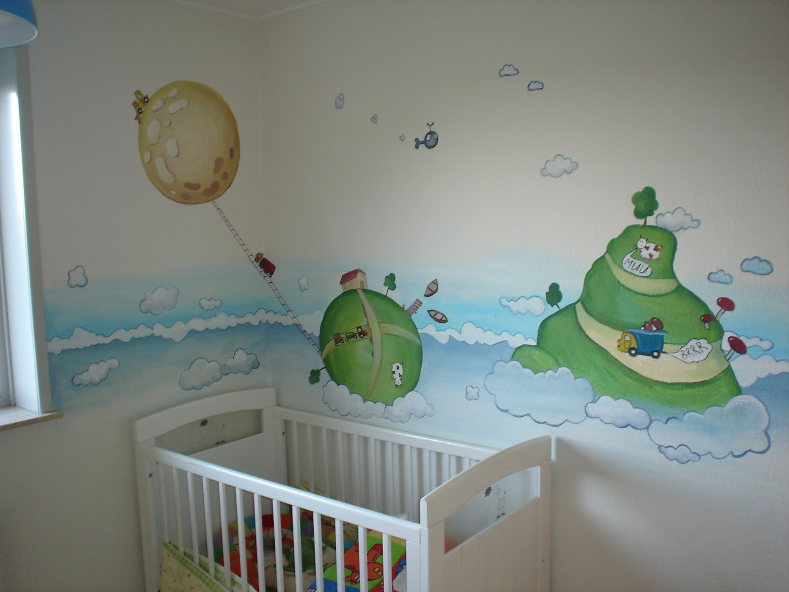 Maggie murals waves and clouds baby nursery mural for Baby nursery mural