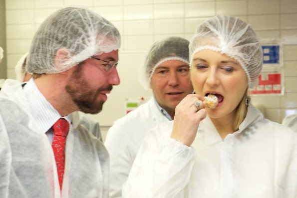 Crown Prince Guillaume and Crown Princess Stephanie of Luxemburg visited Namur-Hamm patisserie and chocolate factory.