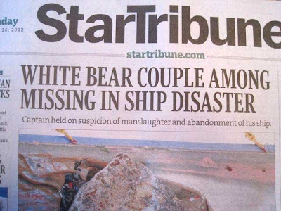 Star Tribune front page with headline WHITE BEAR COUPLE AMONG MISSING IN SHIP DISASTER