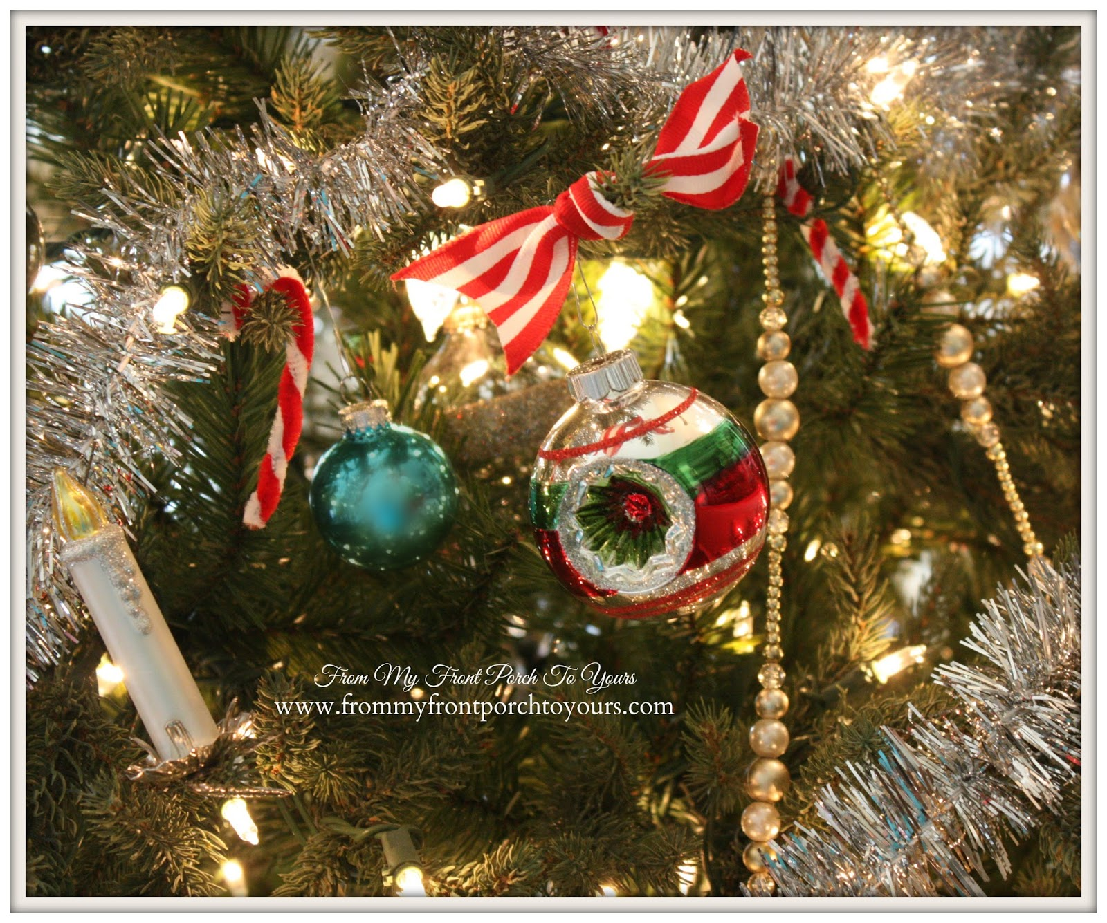 Shiny Brite Ornaments- Farmhouse Vintage Christmas Living Room- From My Front Porch To Yours
