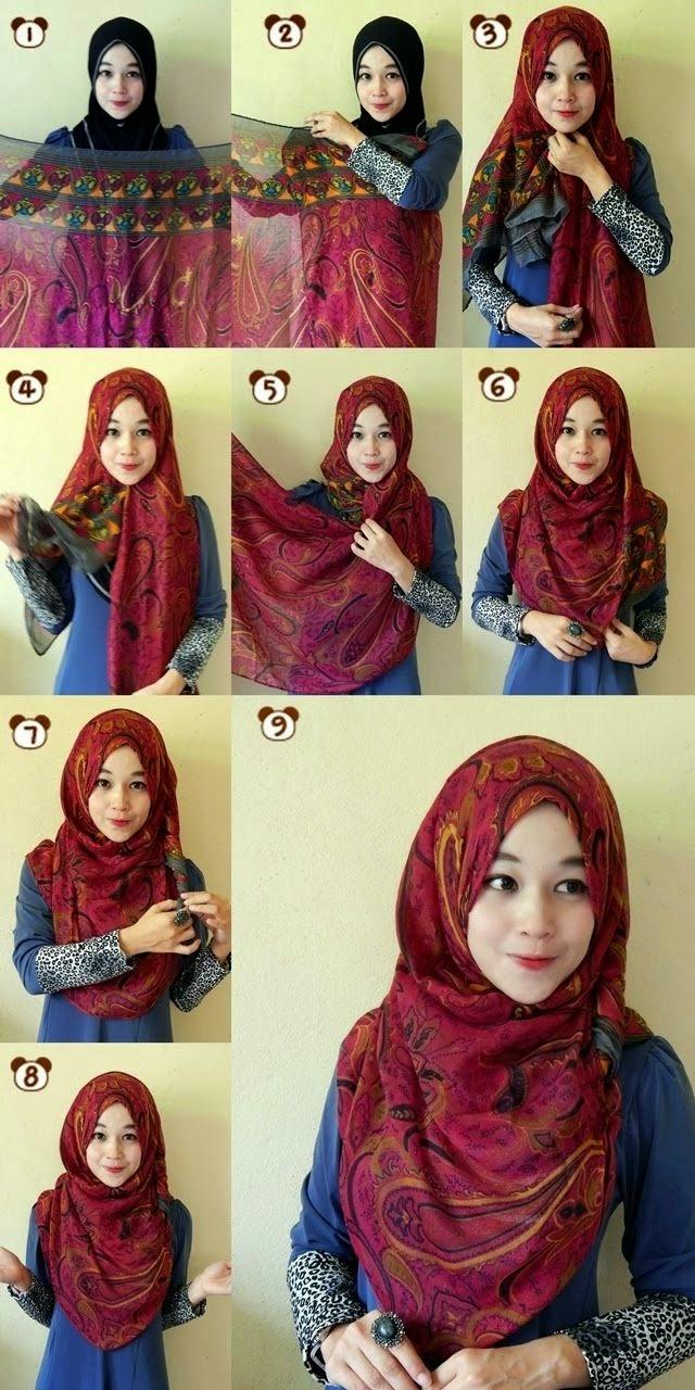 cara memakai jilbab simple manis