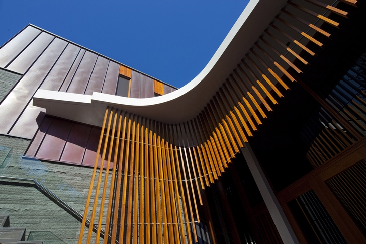 Wooden facade detail on The Serpentine Home by Turner Architects