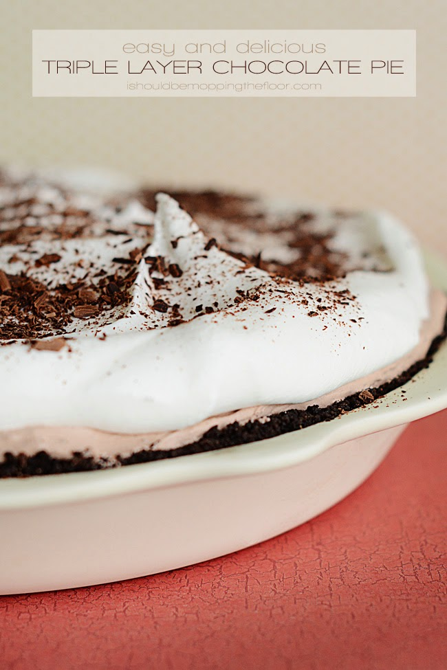 Thanksgiving Blog Hop | Triple Layer Chocolate Pie