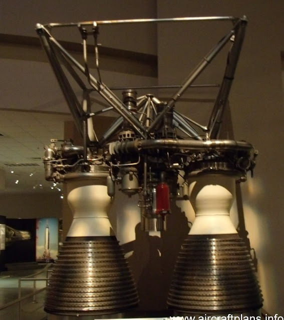 LR-87 engine on display at Dayton. Although the LR-87 used dual combustion chambers, it was still classified as a single engine as both chambers shared the same machinery