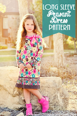 Free Long Sleeve Peasant Dress Pdf Pattern in sizes 12/18 mo to 7. #freepattern #peasantdress