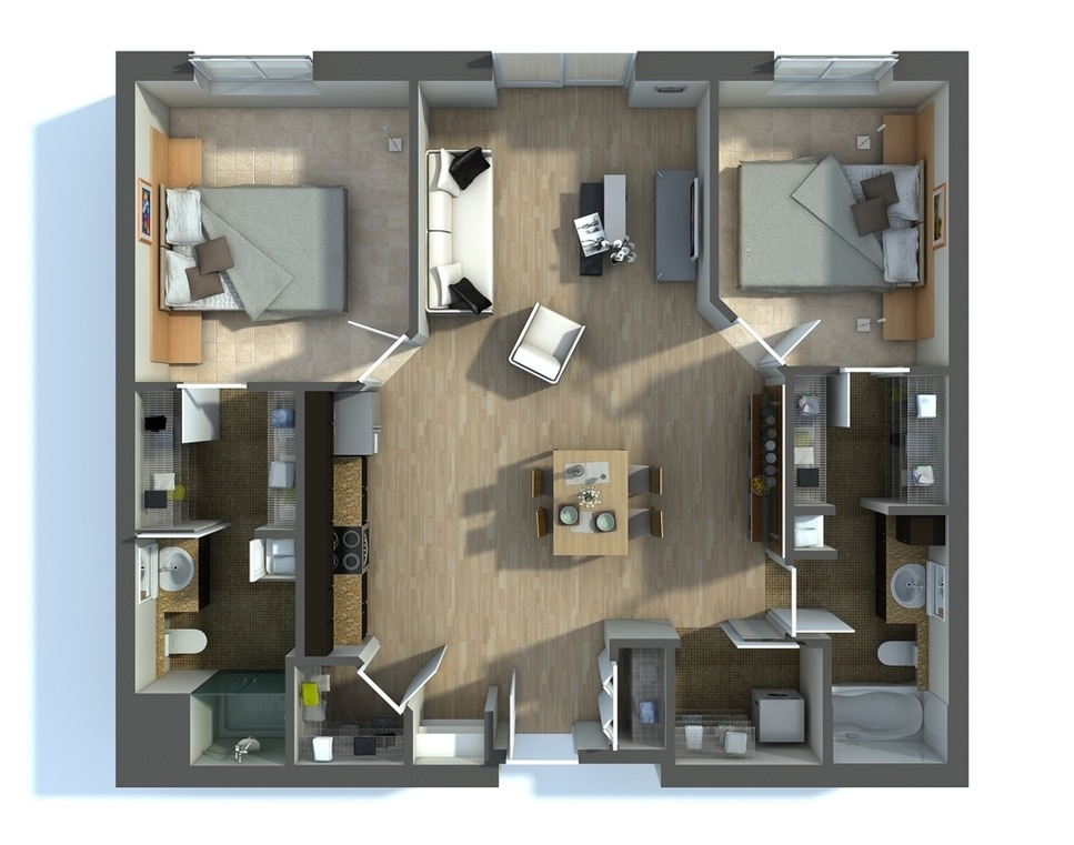 50 3D FLOOR PLANS LAYOUT DESIGNS FOR 2 BEDROOM HOUSE OR APARTMENT