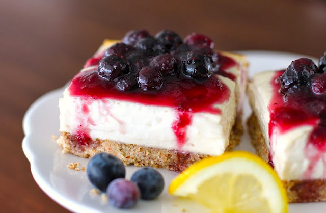 Healthy Lemon Cheesecake Bars - Desserts with Benefits