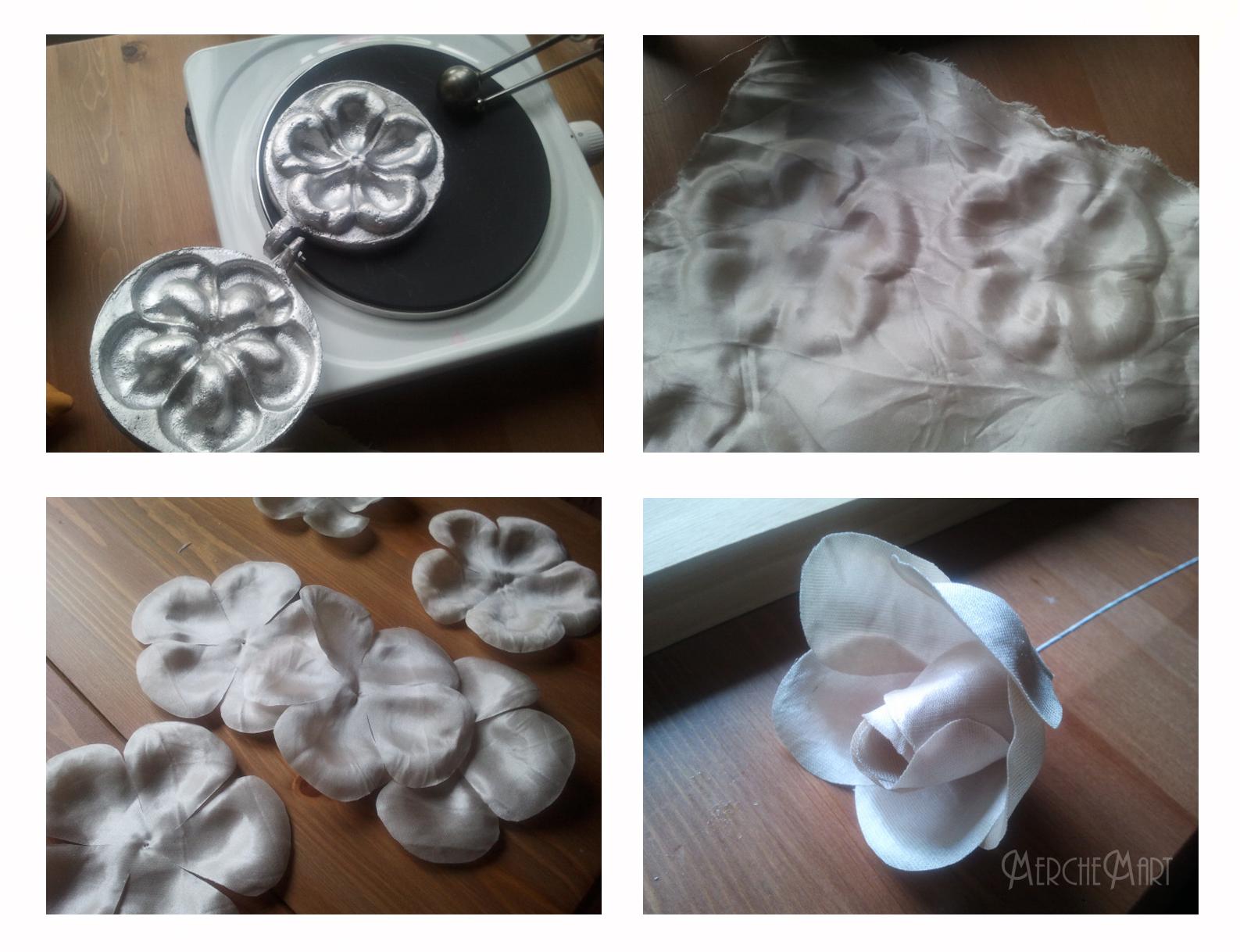 Una manera de hacer las flores de seda, es con troqueles de aluminio.