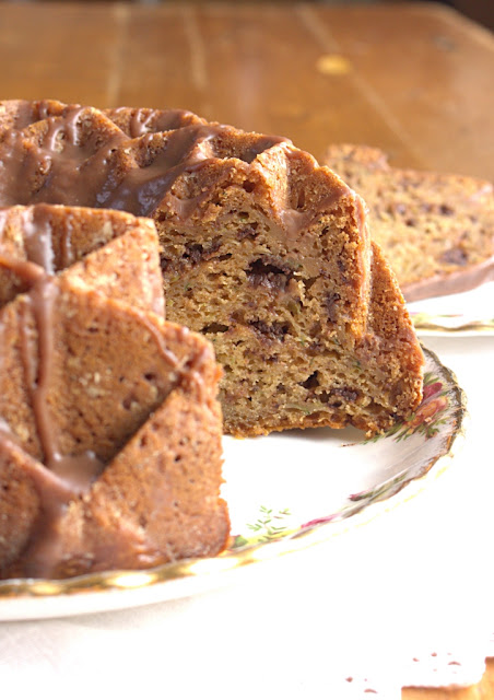 Chocolate Chip Yoghurt Courgette Bundt Cake - with chocolate ganache drizzle