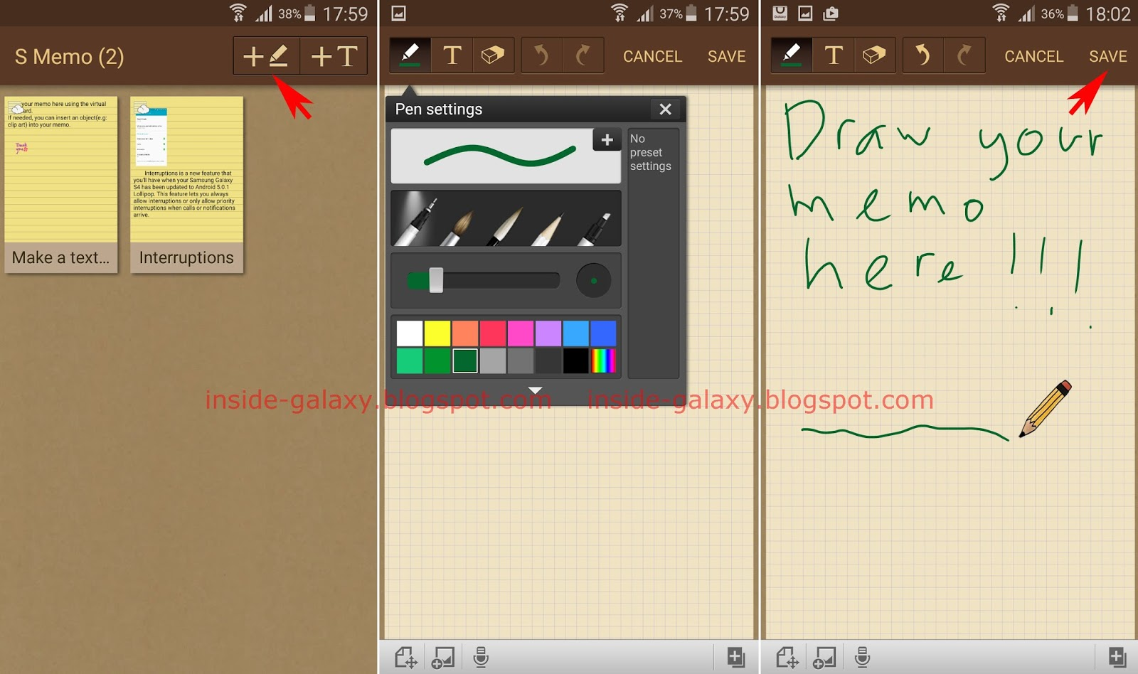 inside galaxy s memo as same as when you create a text memo you can also complete your handwritten memo by inserting pictures voice recording and maps into your memo