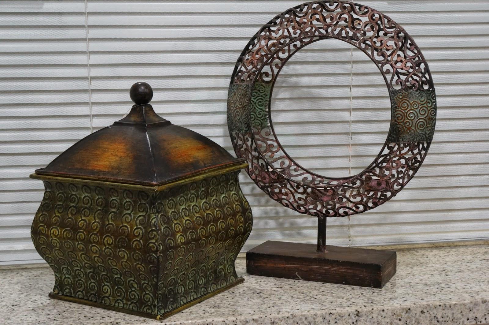 cesto de ferro e mandala de velas - loja Flor de Malagueta