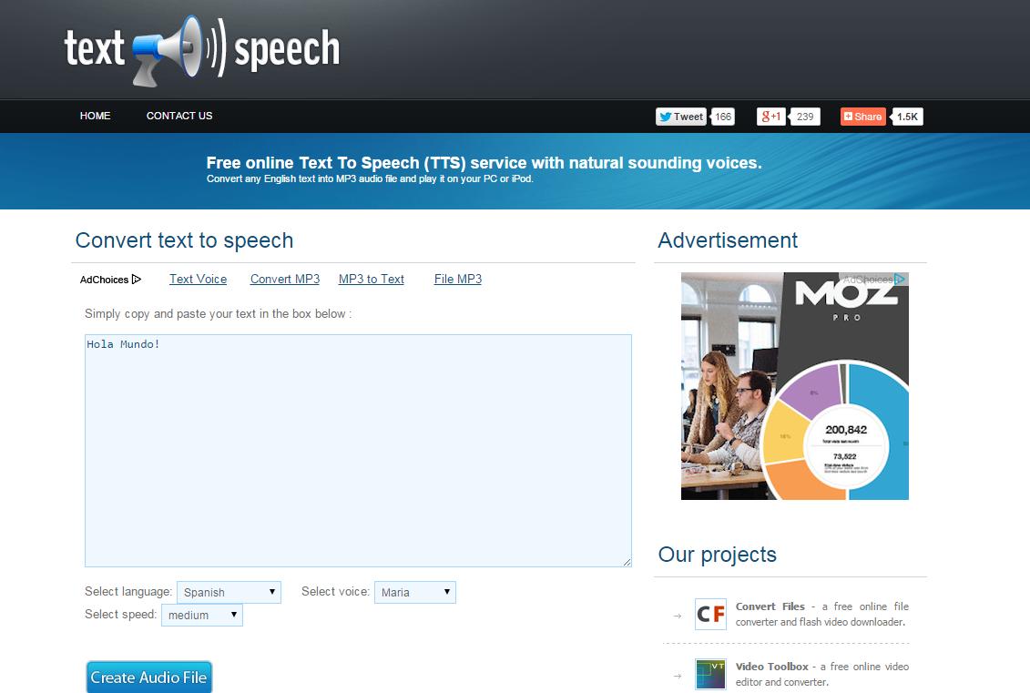 Convertir Texto a Voz gratis
