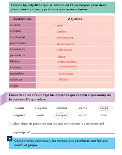 Respuestas Apoyo Primaria Español 2do grado Bloque 3 lección 11 Las palabras de la canción