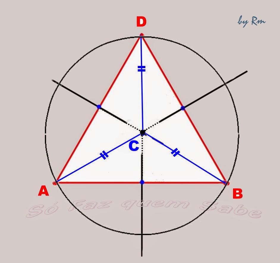 Circuncentro, centro da circunferência circunscrita ao triângulo. Ponto de encontro notável das três mediatrizes do triângulo.