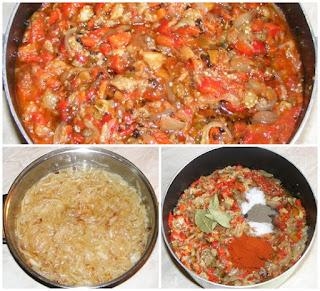 preparare zacusca de vinete cu ardei capia gogosari si ciuperci, cum facem zacusca, cum se face zacusca, retete culinare, retete de mancare, retete zacusca, reteta zacusca,