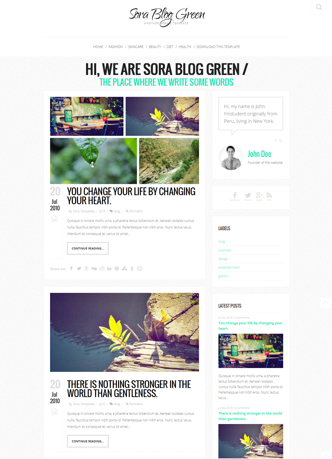 Share Sora Blog Green Blogger Template