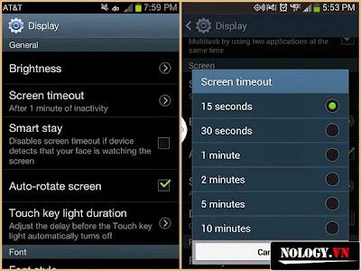 điều chỉnh thời gian màn hình chờ của samsung galaxy s4