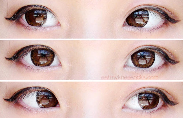 Left, right, and center views of the M.I Contact Tiara Brown circle lenses, modeled with simple ulzzang-inspired eye makeup.