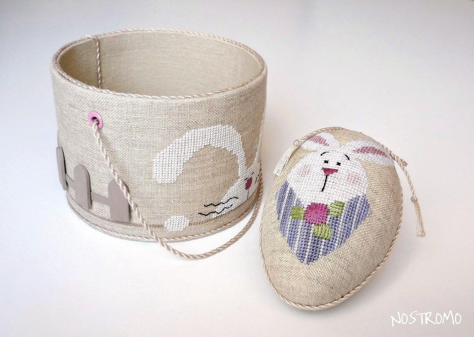 Пасхальное яйцо, декорированное вышивкой кролика из сюжета Spring Things от Lizzie Kate