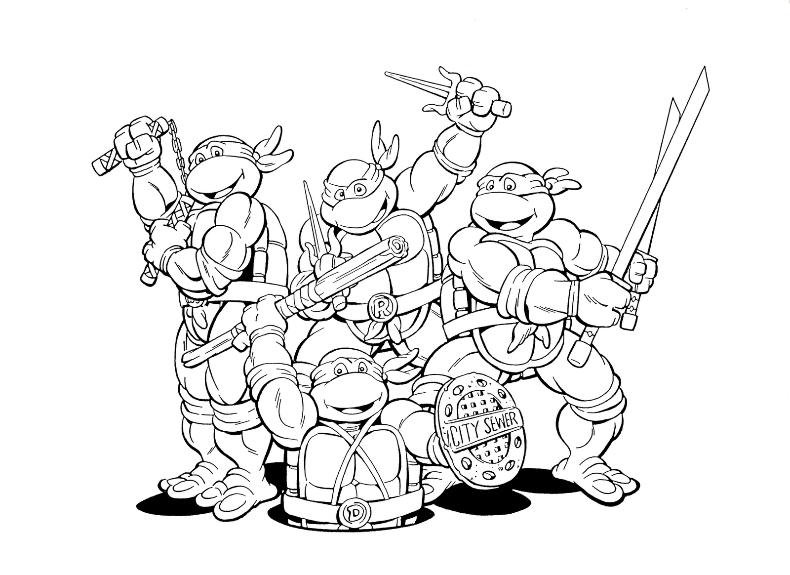 Punchy image within ninja turtles printable coloring pages