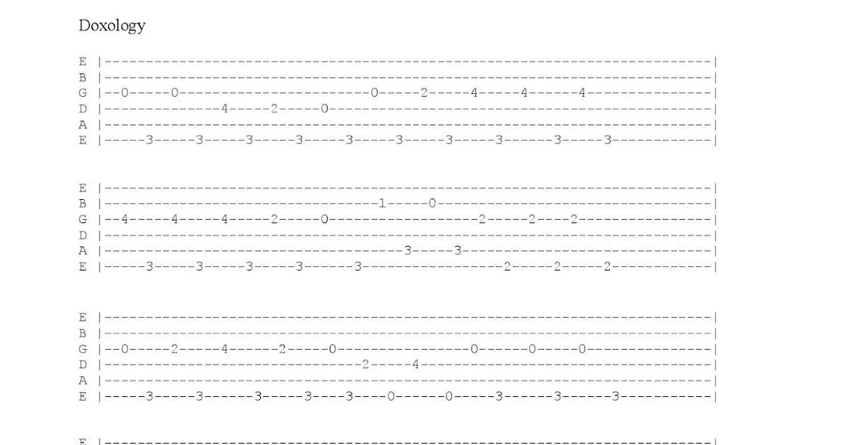 Peter Kruse Music Doxology David Crowder Guitar Tab
