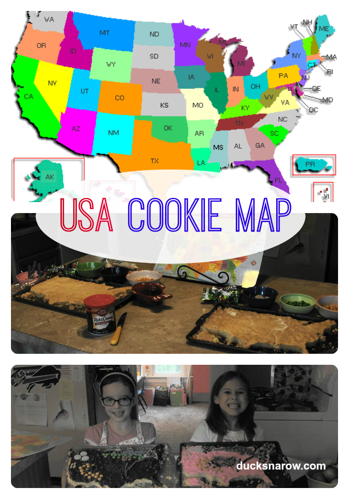 United States cookie map, USA map, #sugarcookies #maps #homeschooling
