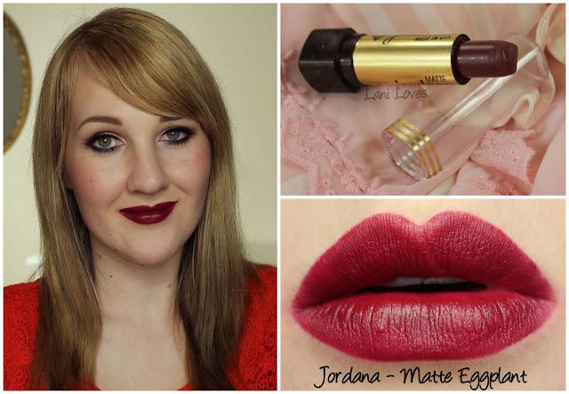 Jordana Matte Eggplant lipstick swatch