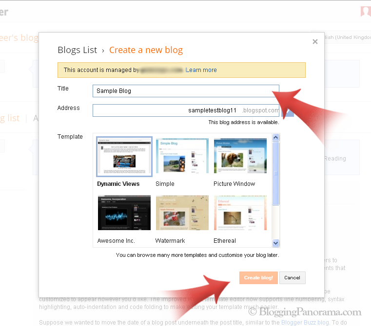 Creating a blogger blogspot blog in 3 minutes for Build blog