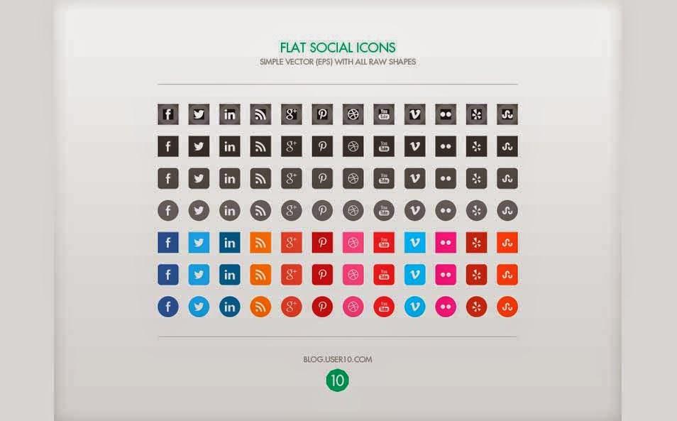 Flat Vector Social Media Icons