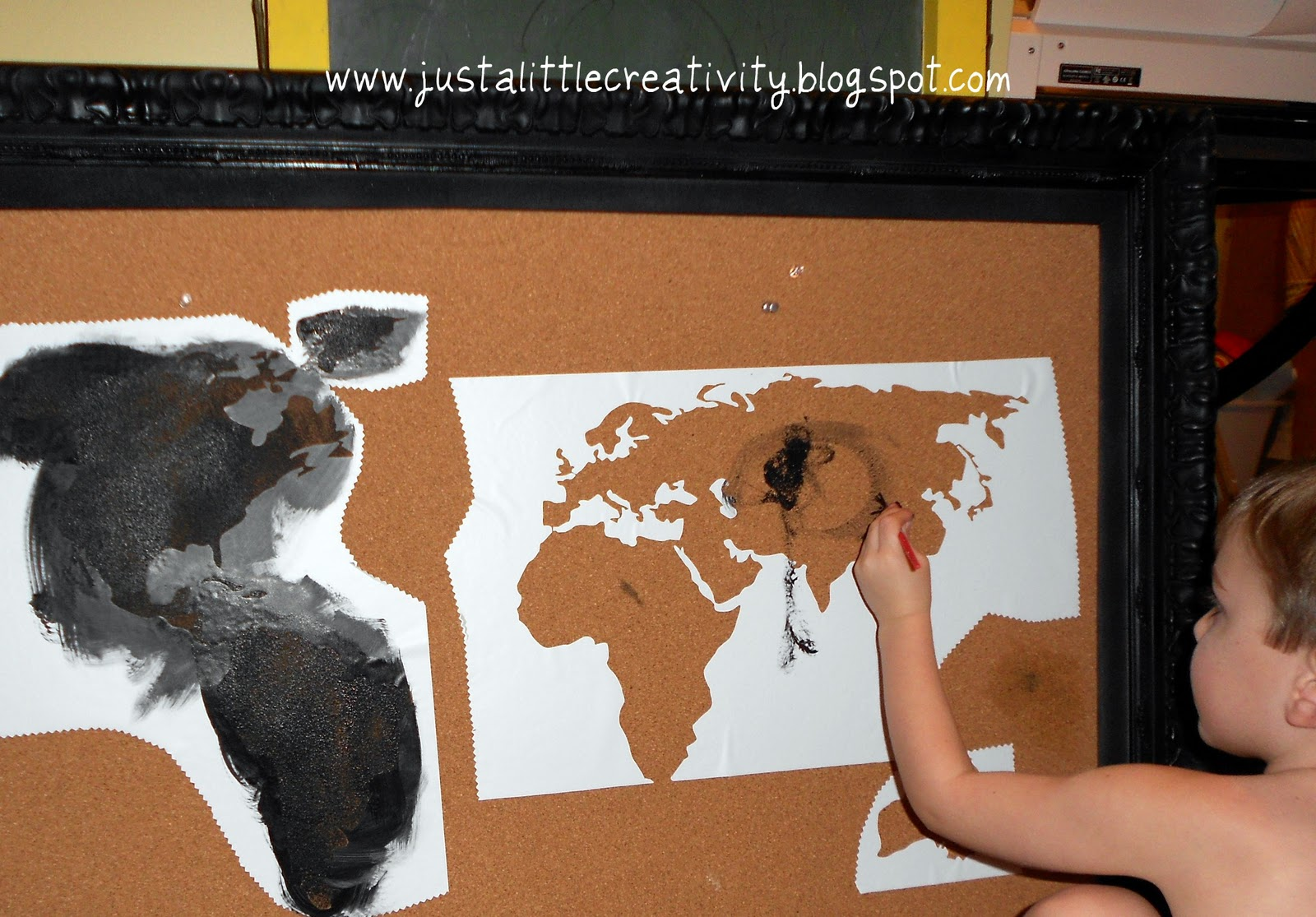 Travel map cork board ballard inspired knockoff just a little using my new silhouette cameo i cut a map of the world out of vinyl using the vinyl as a stencil i and my three year old helper painted in the gumiabroncs Image collections