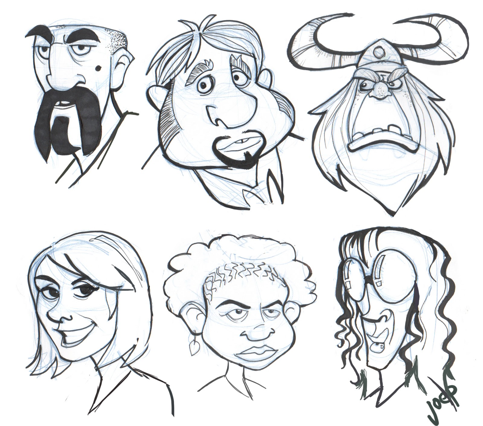 Character Design Face Shapes : Joe pearman art cartoon faces week