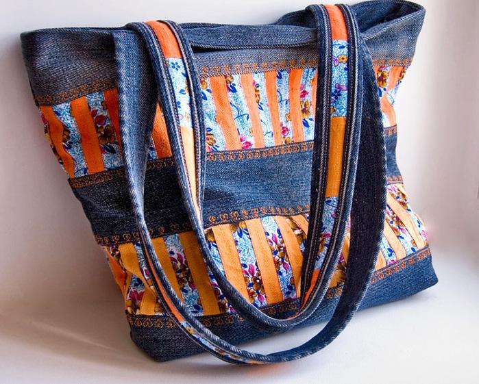 Пляжная сумка из старых джинсов мастер класс