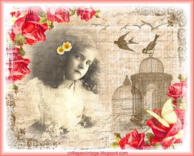 fondo vintage niña antigua con rosas pájaros y jaulas