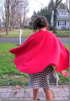 girl in red cape that was homemade