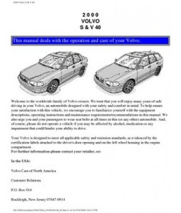 2000 volvo s80 owners manual