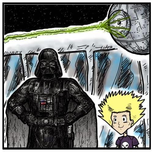 Desenho do personagem Dart Vader, ao lado de um menino, e ao fundo pode-se ver a Estrela da morte, nave espacial no formato de um planeta, toda redonda, com um laser saindo de três pontas e se unindo ao meio.