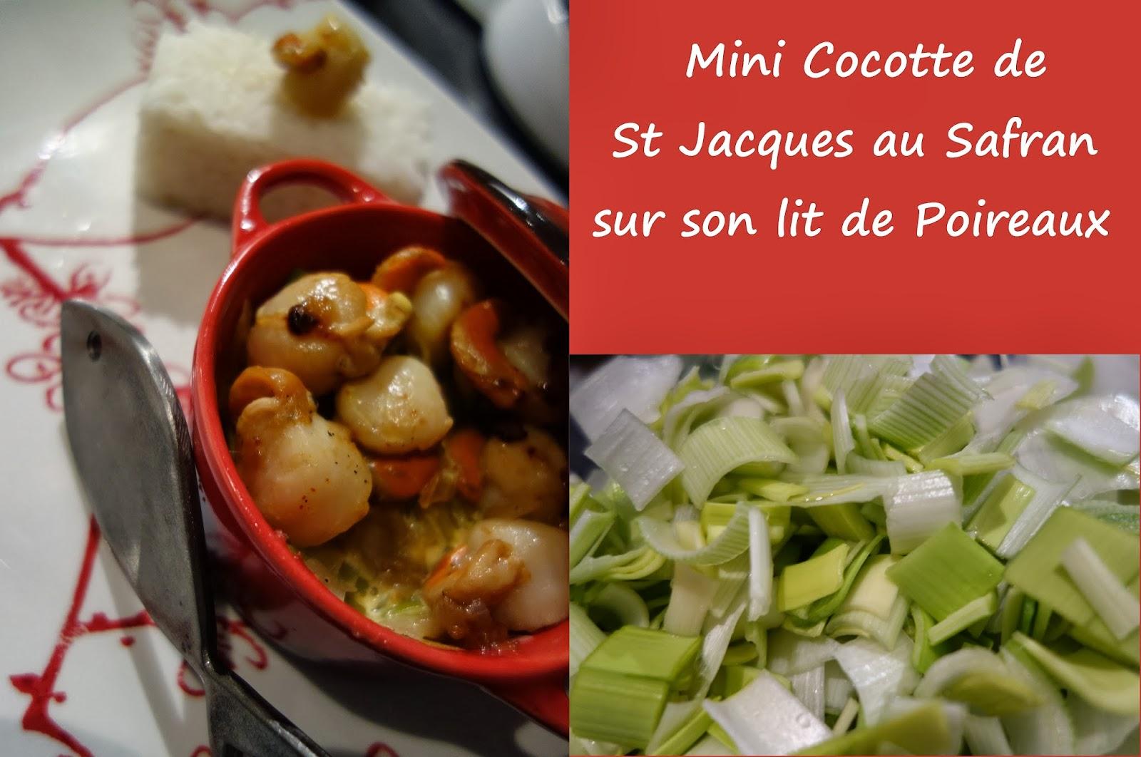 La cuisine de k mini cocotte de st jacques au safran sur - Cassolette de saint jacques sur lit de poireaux ...