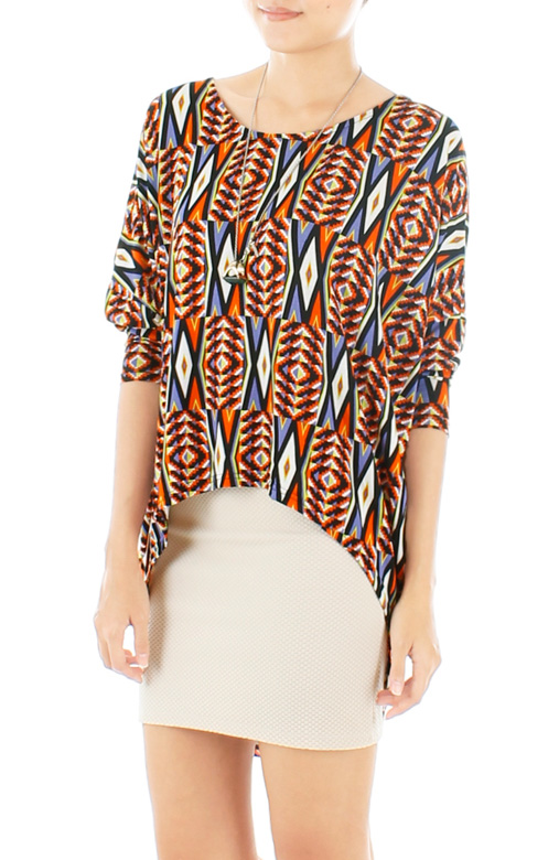 Psychedelic Aztec Dip Back Blouse – Orange