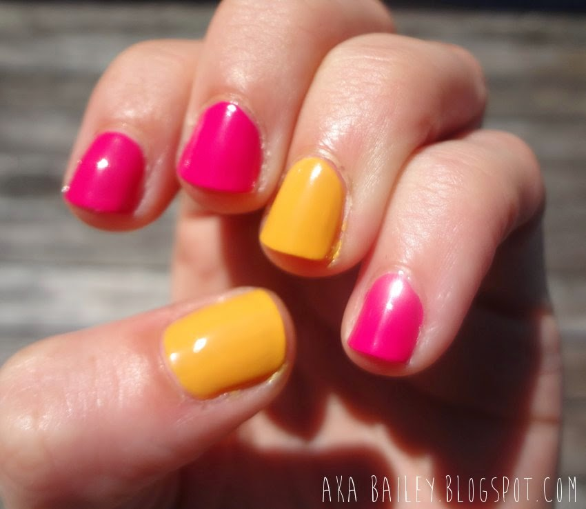 Pink and yellow nails