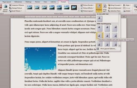 posisi gambar di kiri tengah dokumen