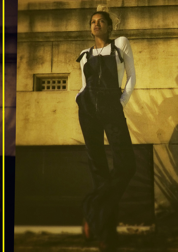 Casual stance, Vishmi wears ROLLA'S Eastcoast Flare Overall; photographed for Street Fashion Sydney by Kent Johnson.