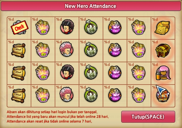 New Hero Attendance Lost Saga