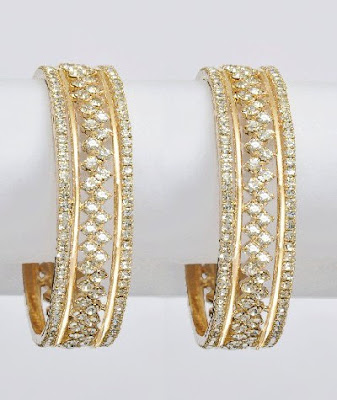 Latest Trend Bridal Gold Diamonds Bangles 2013 - Gold Design