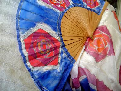 Pañuelo de seda pintado a mano, abanico pintado a mano, foulard de seda pintado a mano