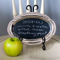 chalkboard silver platter