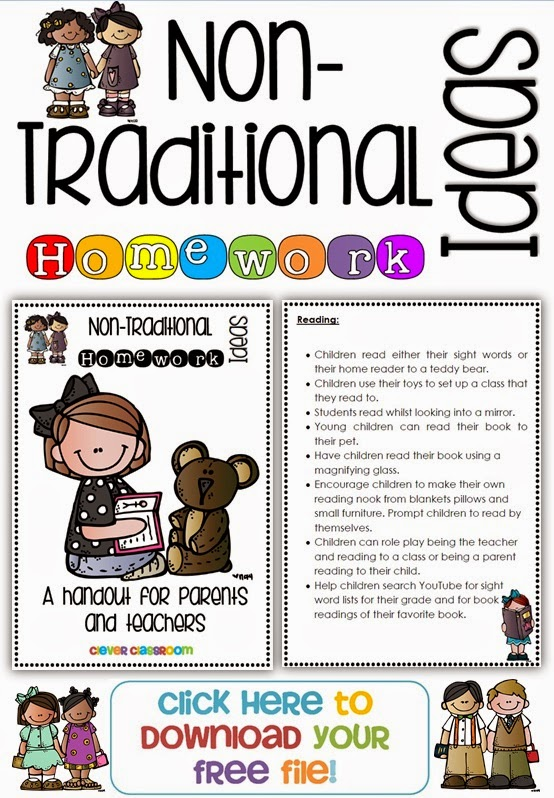 Non Traditional Homework Ideas and a FREE Handout from Clever Classroom's blog